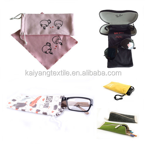 promotional microfiber glasses pouch with custom print logo