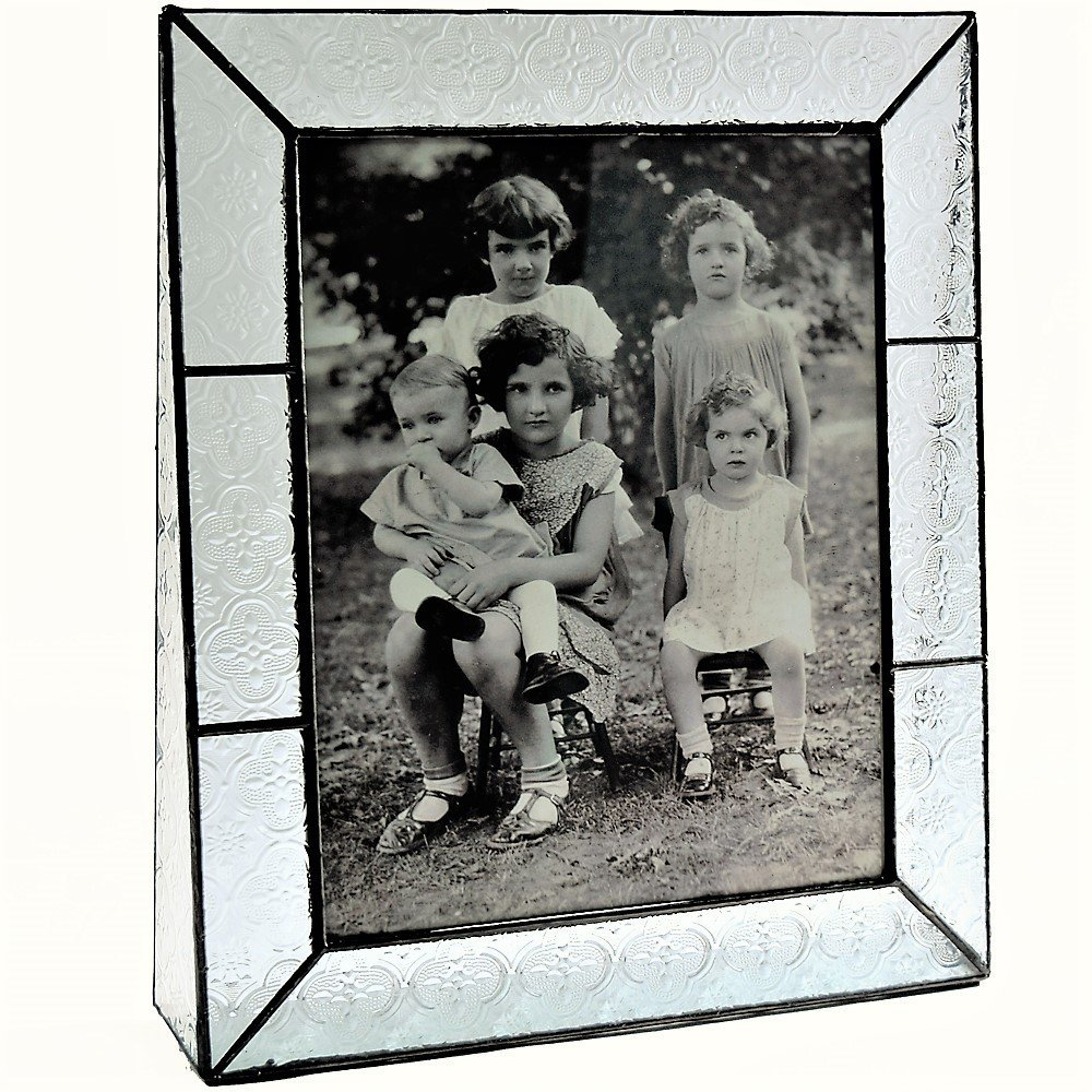 J Devlin Pic 126-81V Stained Glass Picture Frame 8x0 Vertical Tabletop Photo Frame Vintage Home Decor Wedding or Family Portrait
