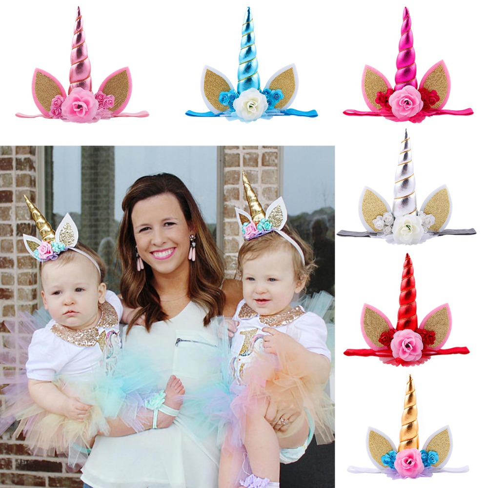 Unicorn party elastic hair band Wholesale children flower yarn mesh headband