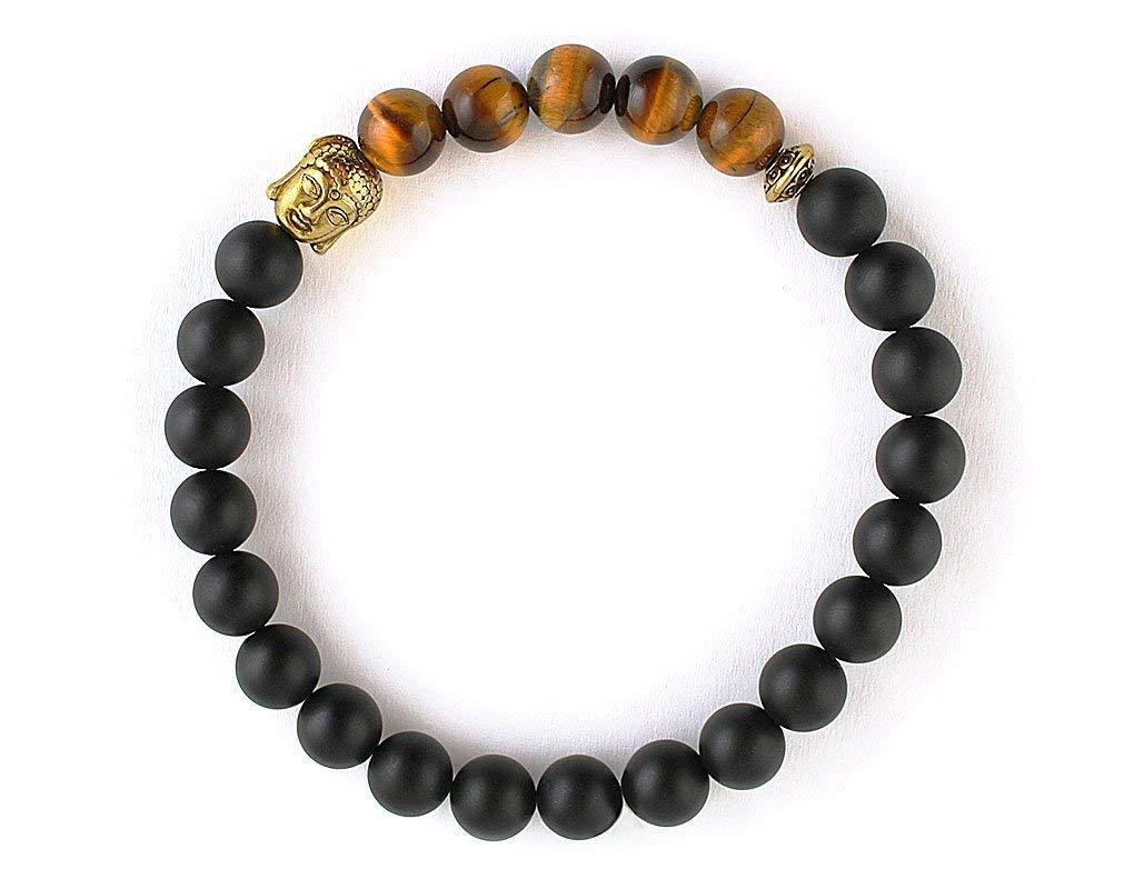 Mens bead bracelet Gold buddha Silver beads Tiger eye Matte black Tibetan Onyx jewelry 8 mm