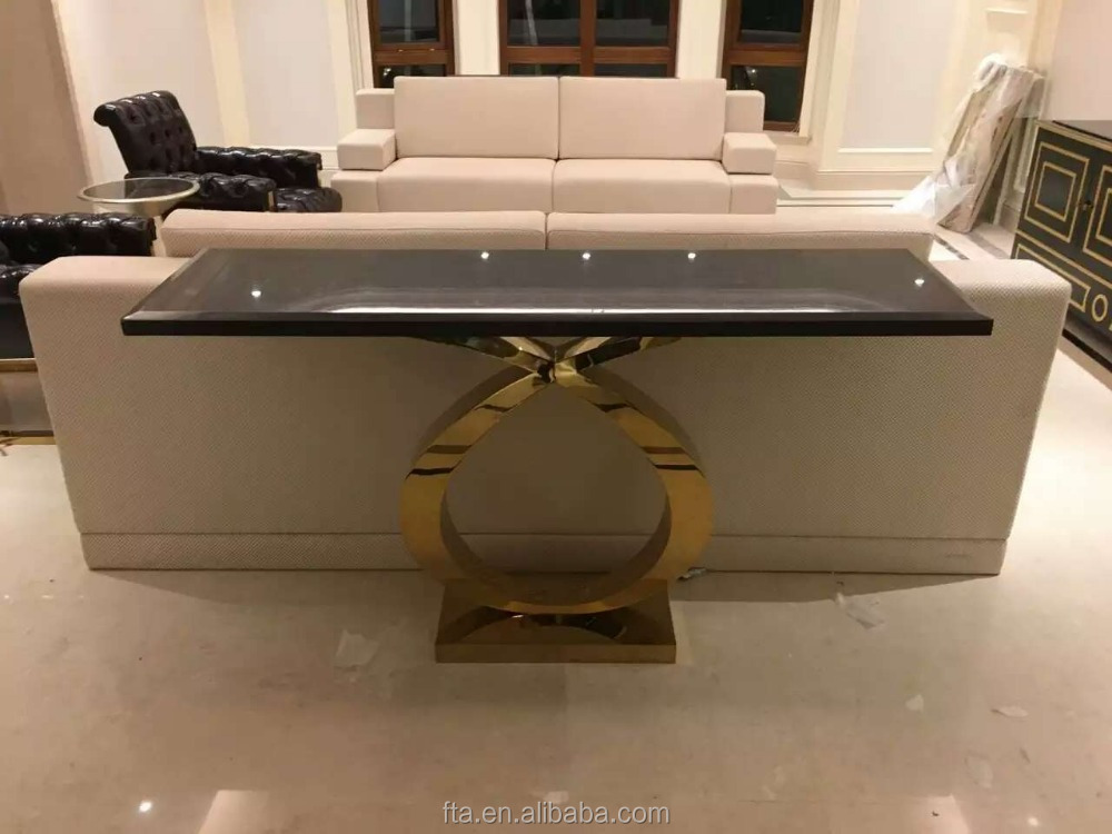 living room special shaped golden polished stainless steel end table