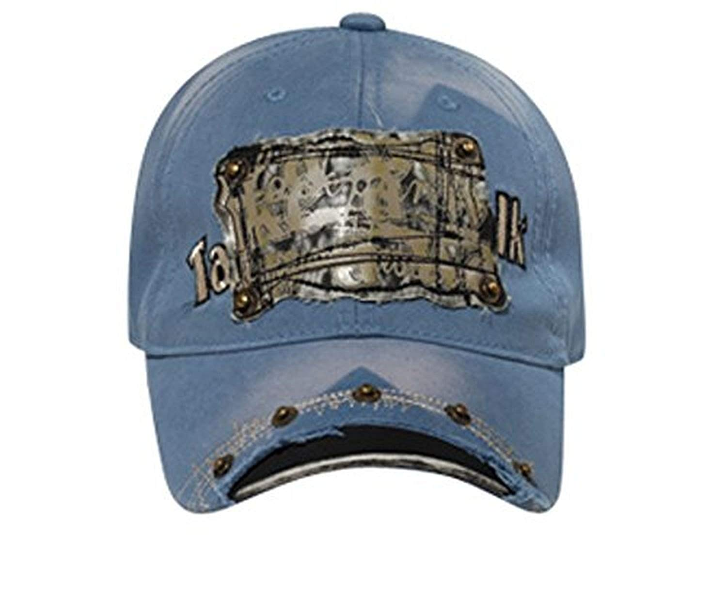 Hats & Caps Shop Faux Leather Patch & Rivets Distressed Visor Caps - By TheTargetBuys