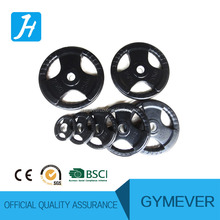 three holes rubber coated weight plate