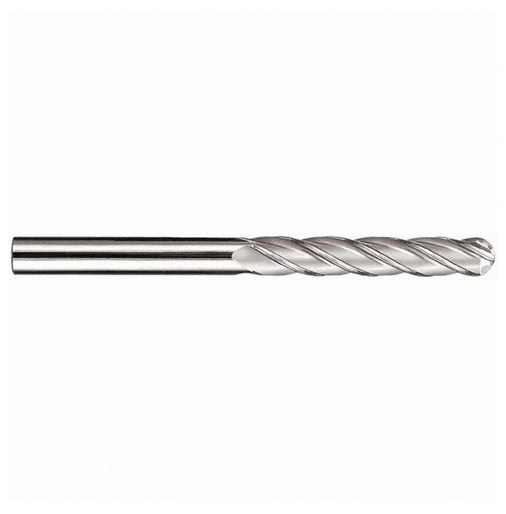 "7/16"" Diam, 3"" Length of Cut, 4 Flute Solid Carbide Ball End Mill, AlTiN Finish, Single End, 6"" OAL, 7/16"" Shank Diam, 30° Helix, Spiral Flute"