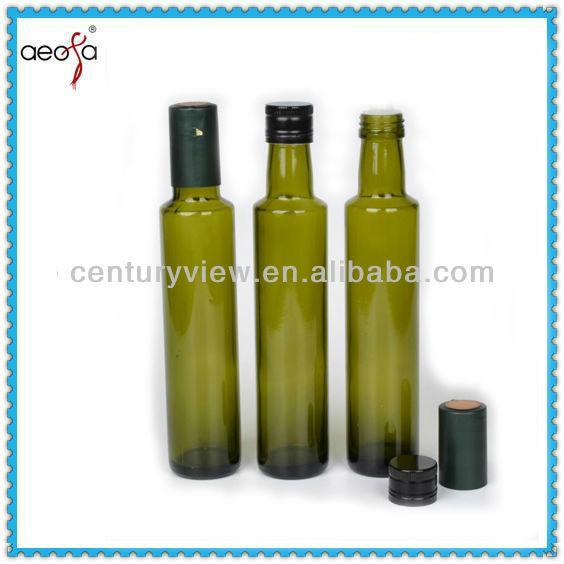 Food Grade Dark Green Round Glass Olive Oil Bottles With Cap