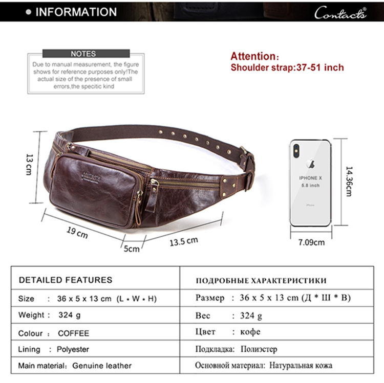 Contact's 2019 Vintage Fashion High Quality Genuine Leather Men Small Shoulder Strap Waist Bag For Cycling Hiking Running Sport