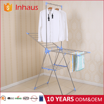Wing Shape Stainless Steel Laundry Drier Folding Portable Hanging Bathroom Detachable Clothes Rack For