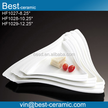 Custom cheap white unique triangle shape embossed bulk plain hot sale ceramic dinner plates & Custom Cheap White Unique Triangle Shape Embossed Bulk Plain Hot ...