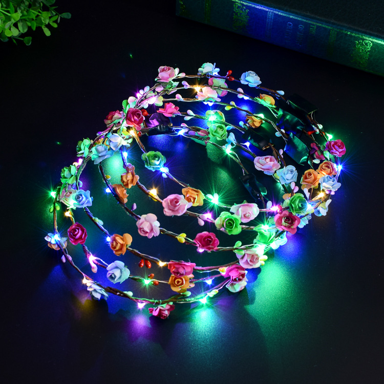 Apparel Accessories Women Girls Led Light Up Flower Headband Flashing Glow Crown Party Hair Wreath Let Our Commodities Go To The World Girl's Accessories
