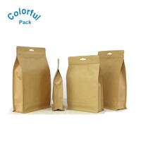 Customized flat bottom brown craft paper coffee packaging bags