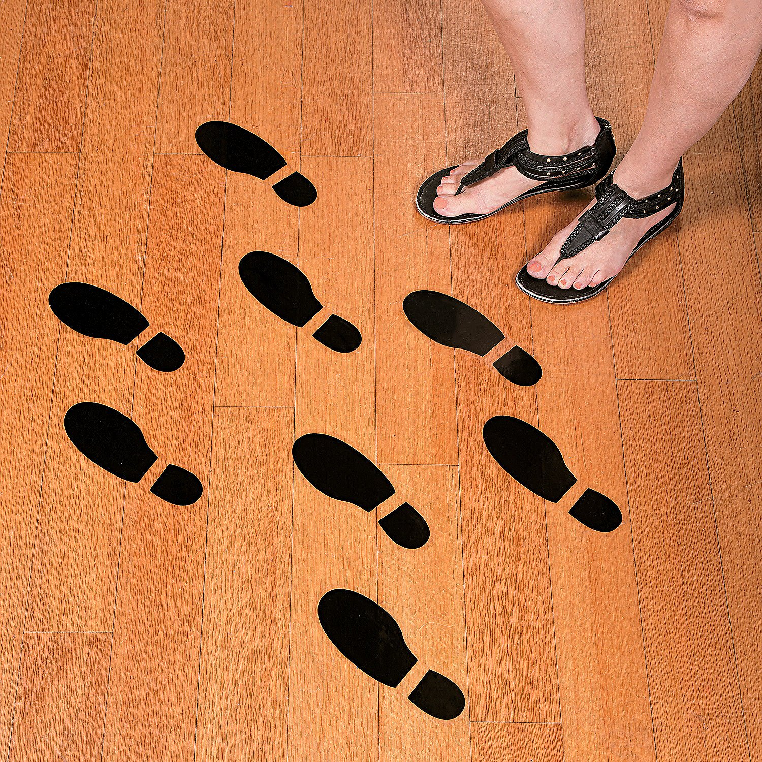 Set of 16 LARGE SHOE FOOTPRINT FLOOR DECAL CLINGS! ~ 16 Foot Prints ~ 8""