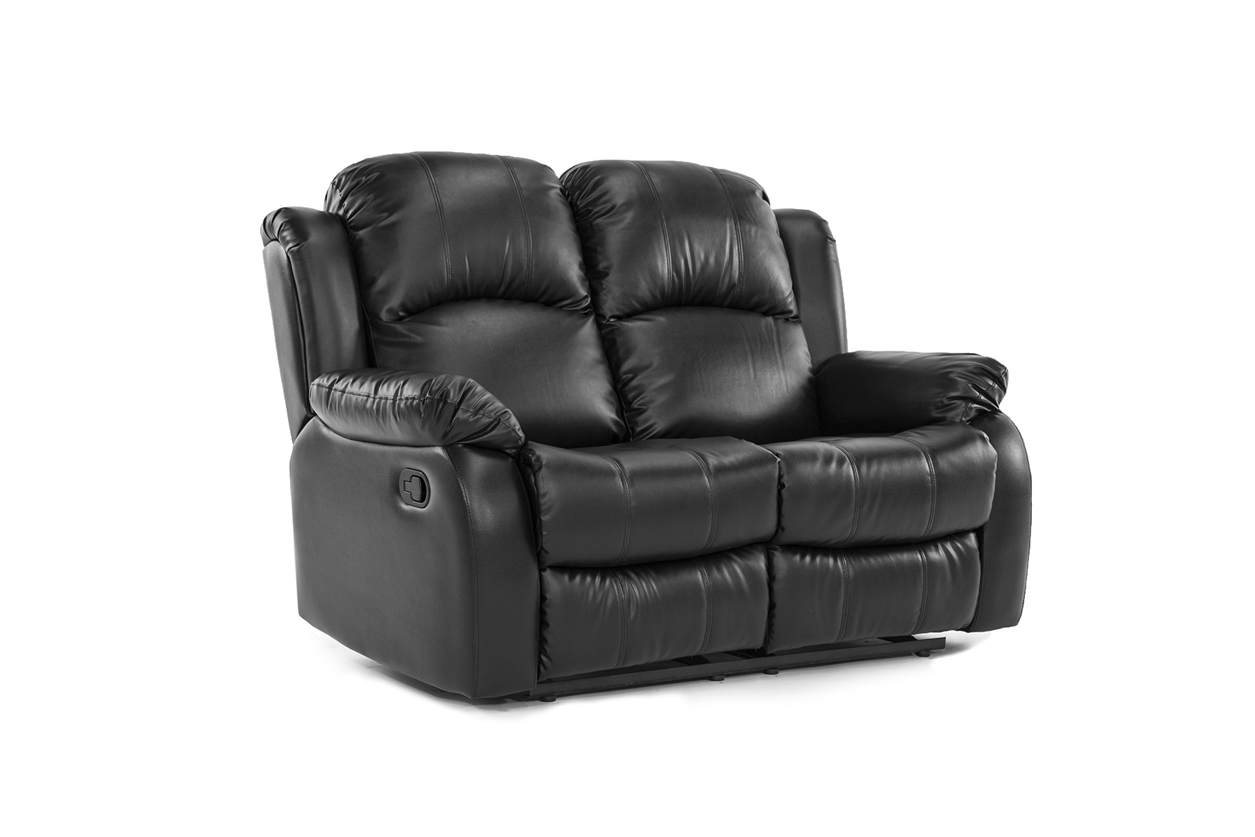Classic Double Reclining Loveseat - Bonded Leather Living Room Recliner (Black)