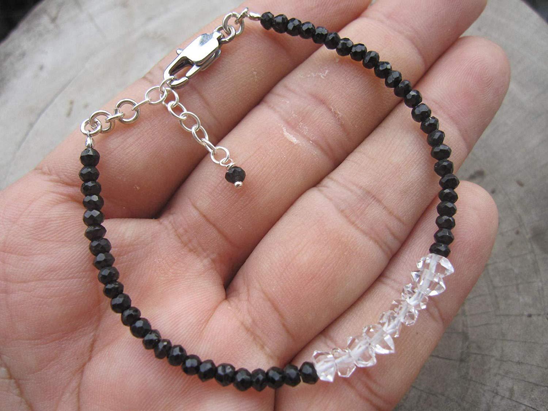 Black Tourmaline Bracelet,Bead Size 3 mm,Herkimer Diamond,925 Sterling Silver chain extender 1 inch, Custom Size - 6,6.5,7,7.5,8,8.5