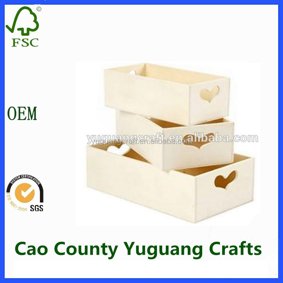 OEM Small Wooden Storage Boxes With Heart Cut Outs