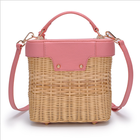 2019 new women's shoulder messenger bag Hand-woven woven rattan bag European and American style fan rattan bag