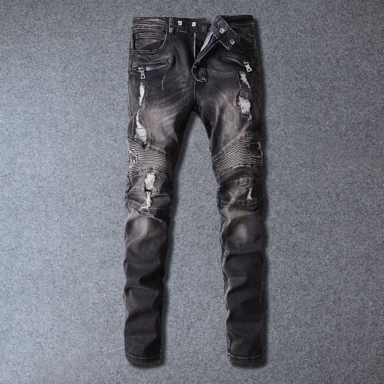 Royal wolf denim jeans manufacturer Adults Age Group and Men Gender ripped slim fit black biker jeans men
