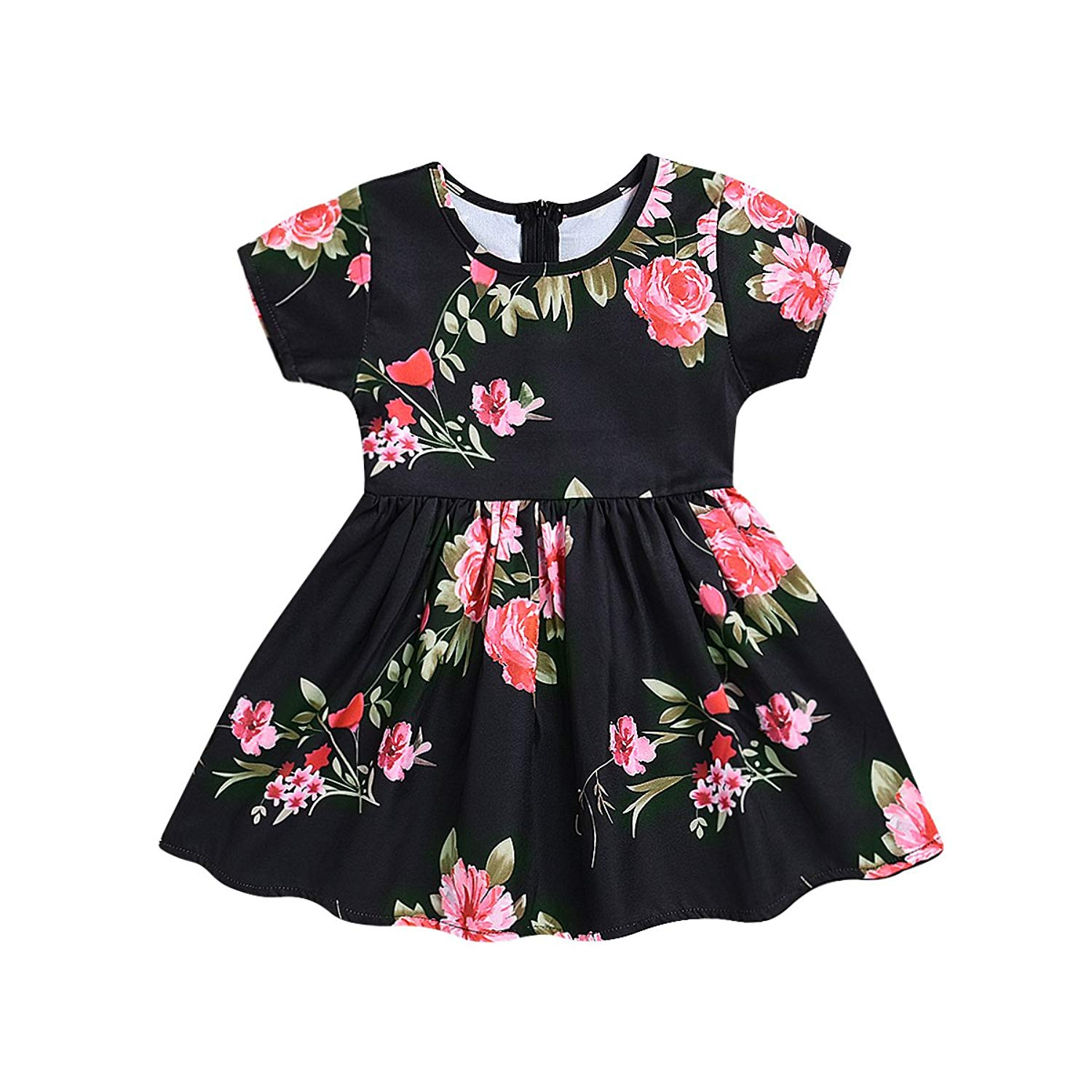 puseky Baby Girl Big Peony Flower One Piece Short Sleeve Fluffy Dress Floral Sundress