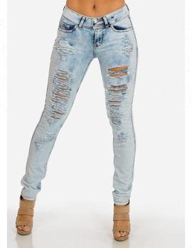 89e42d33a7 Royal wolf fabricante de jeans luz azul lavado ácido de cintura baja el  ascensor skinny deshilachados