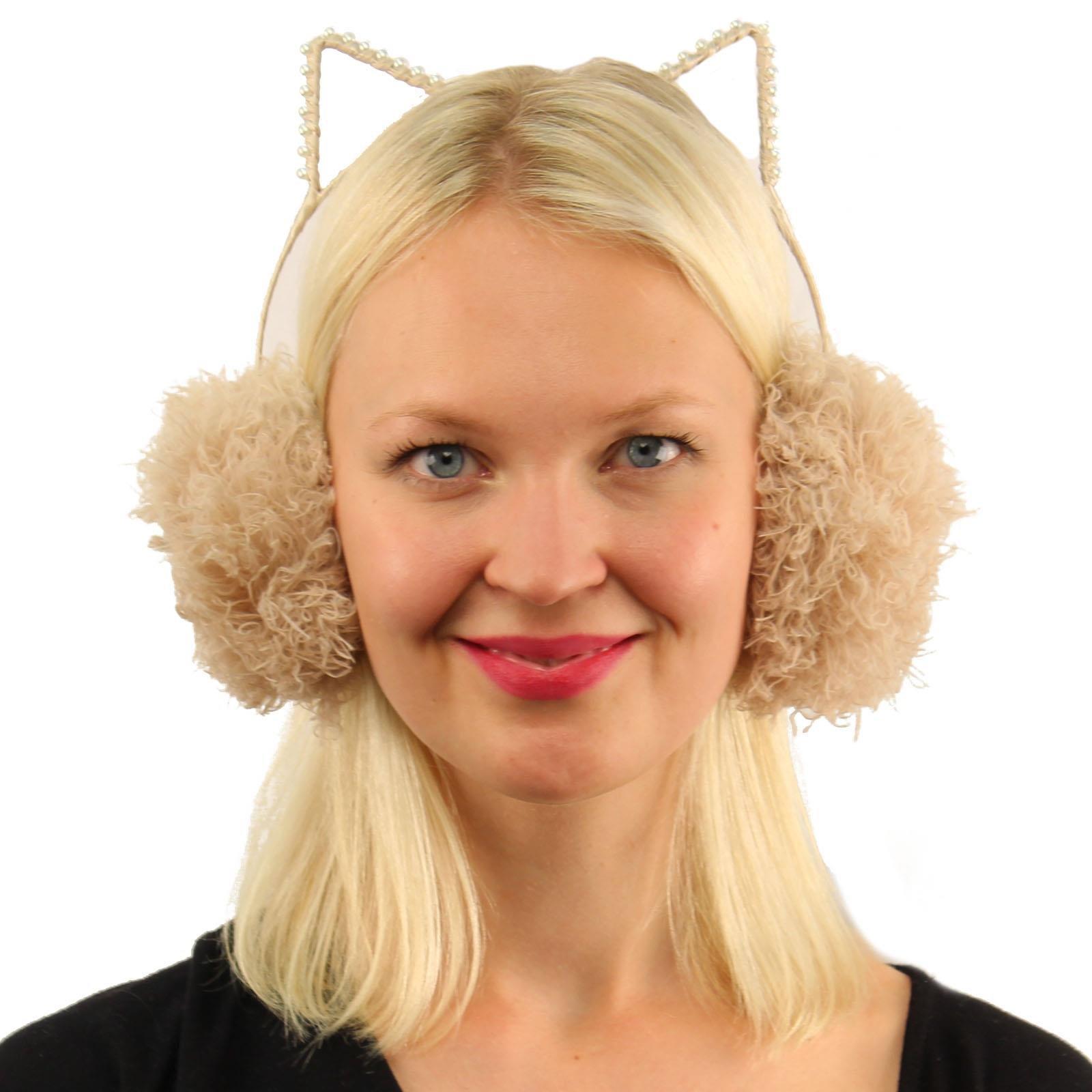 Winter Cute Kitty Cat Ears Soft Faux Fur Headband Earmuffs Earwarmer Ski