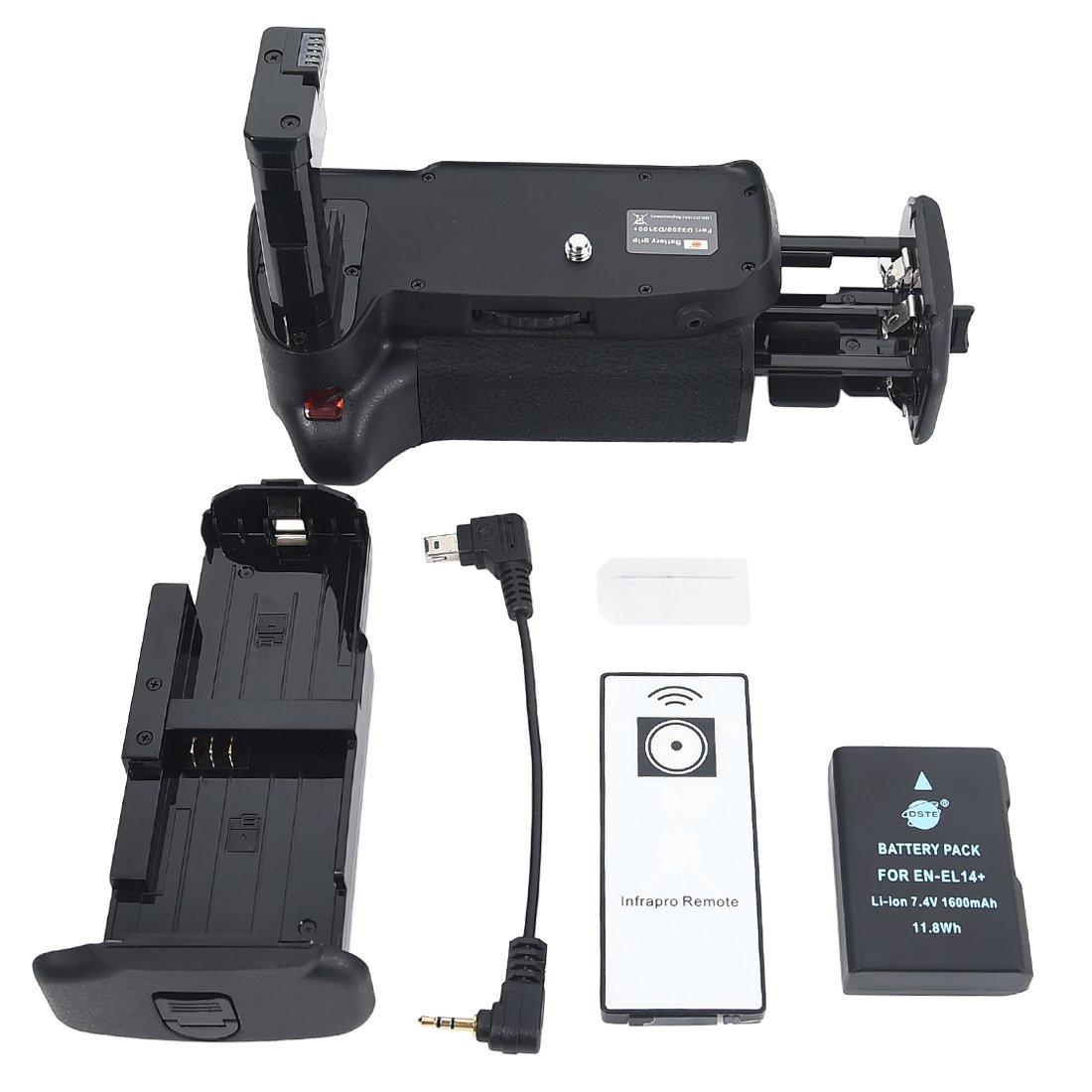 DSTE Pro IR Remote MB-D31 Vertical Battery Grip + EN-EL14 EN-EL14A for Nikon D3100 D3200 D3300 D5300 SLR Digital Camera