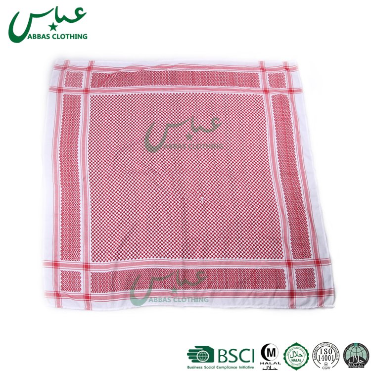 ABBAS 2 Lines Arabic White Scarf /Arab Yashmagh/Shemagh Men Scarf