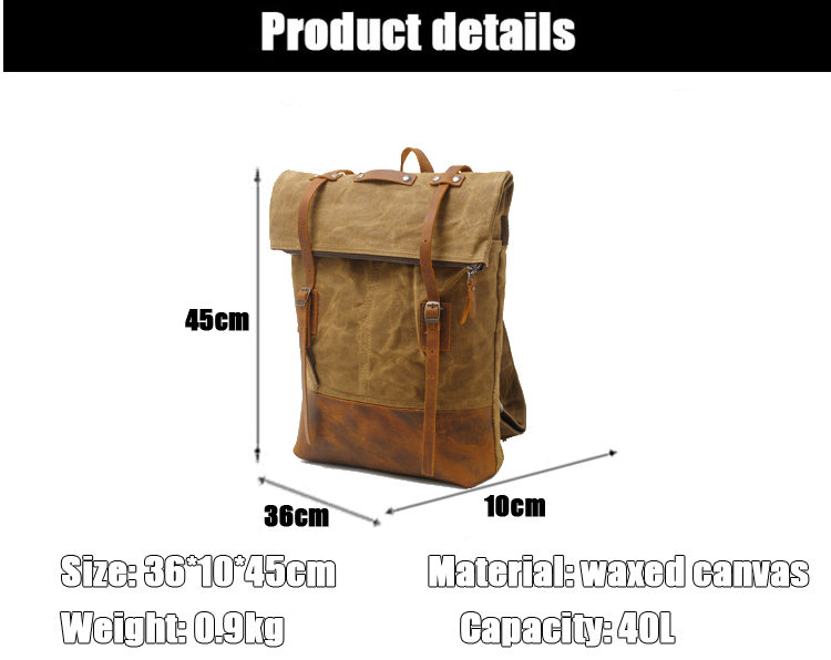 Outdoor design brand vintage water resistant unisex waxed canvas back pack satchel rucksack backpack bag with leather trim