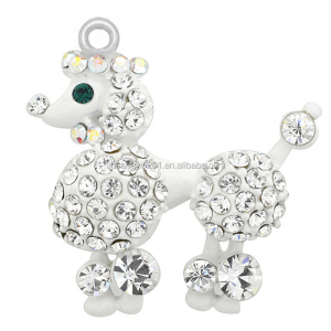 Custom strange white crystal royal poodle dog pendant charms