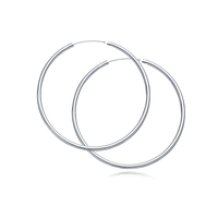 Fashion Big Small Circle Jewelry Set Simple 925 Sterling Silver Loop Hoop Earrings For Woman