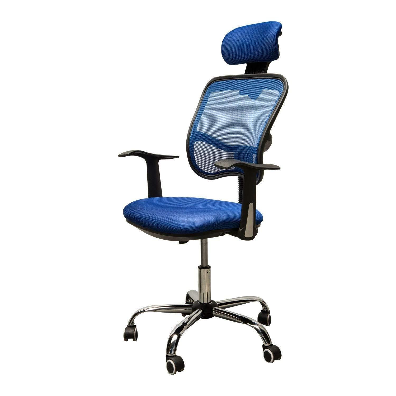 Adjustable Mesh Task Computer Desk Office Chair High Back with Headrest Swivel Blue #507