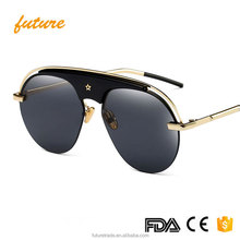 F97325 Luxury Vintage Sunglasses Women Brand Designer Retro Shades Sun Glasses For Ladies Men Mirror Round Aviator 2018 Sunglass
