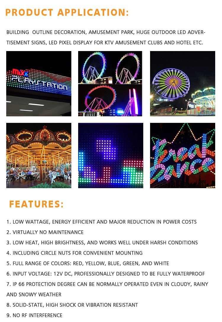 Cabochon DMX pixel led lights 60mm RGBW 18LEDs DC24V for amusement rides  IP67 waterproof pigtail, View DMX pixel led lights 60mm RGBW, SCOTT Product
