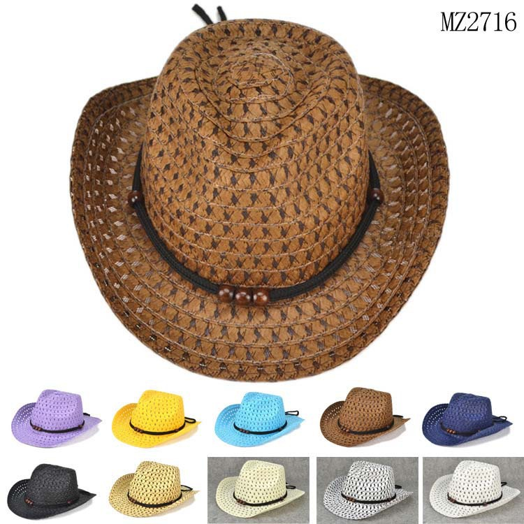 Beads Rope Decorations Cowboy Straw Hats for Children 2015