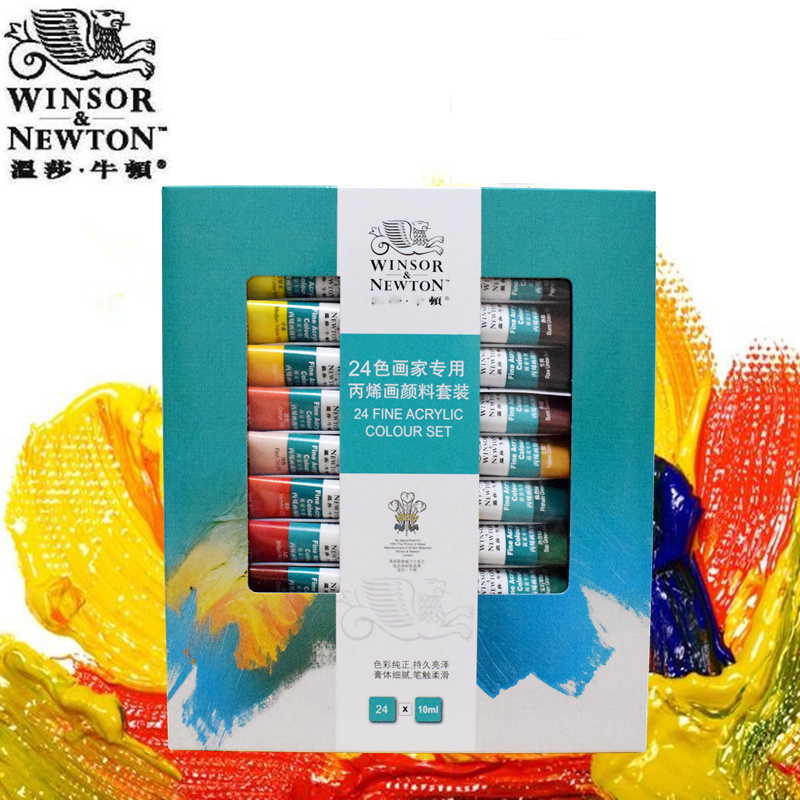 18 24 Colors Winsor Newton Acrylic Paint Set Acrylic Paint For Painting Fabric Textile Nail Glass Drawing For Artist Acuarelas
