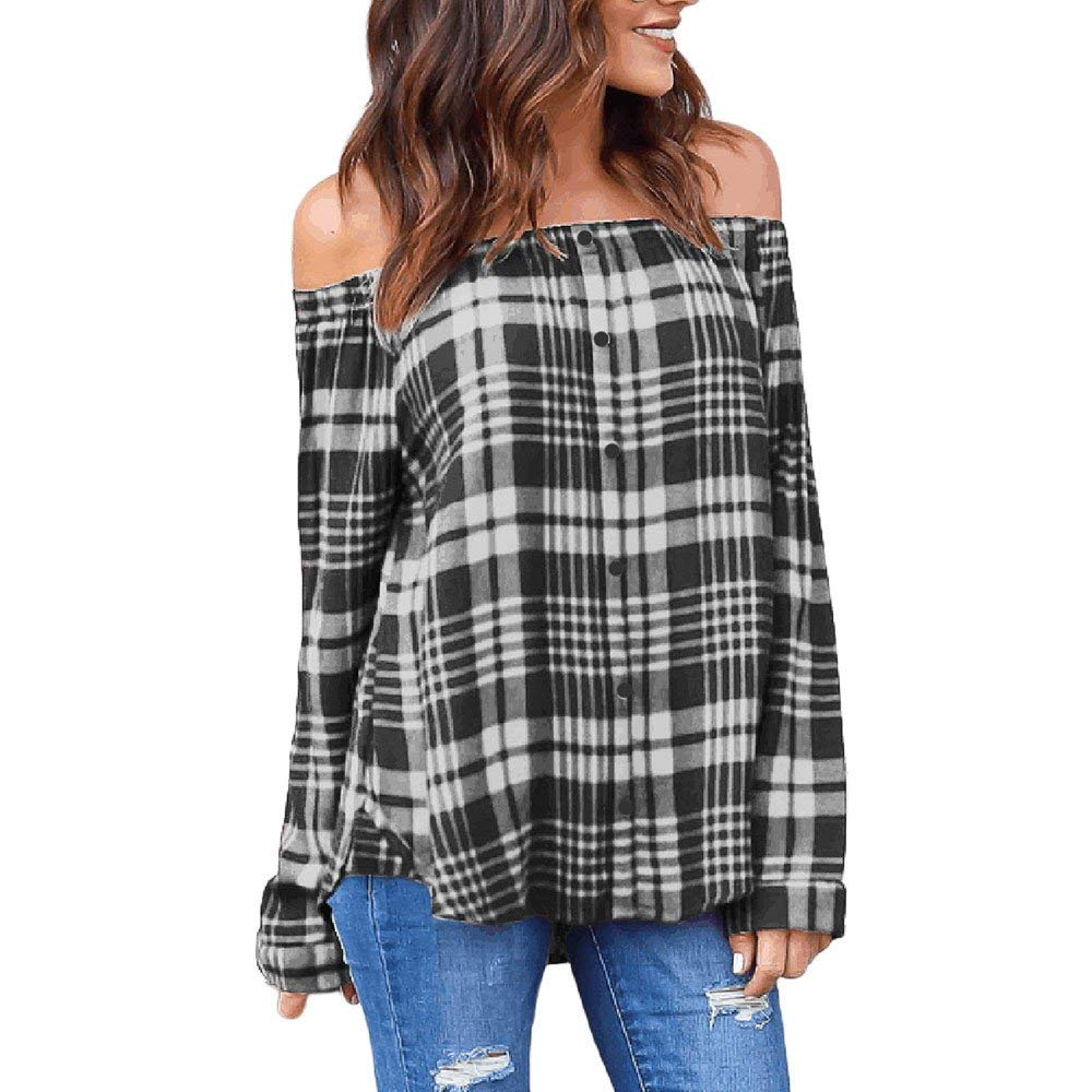POTO Shirts, Women Ladies Plaid Sexy Off Shoulder Shirt,Casual Long Sleeve T-Shirt Tops Blouse Sweatshirt Tee