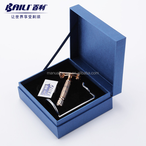New Twist to Open Butterfly Safety Razor & 5 Baili Double Edge Blades Set