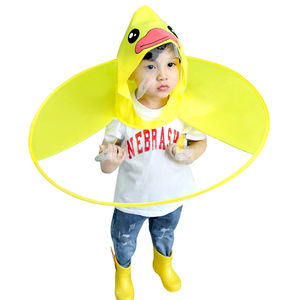 PVC duck raincoat for kids transparent yellow raincoat kids umbrella cap