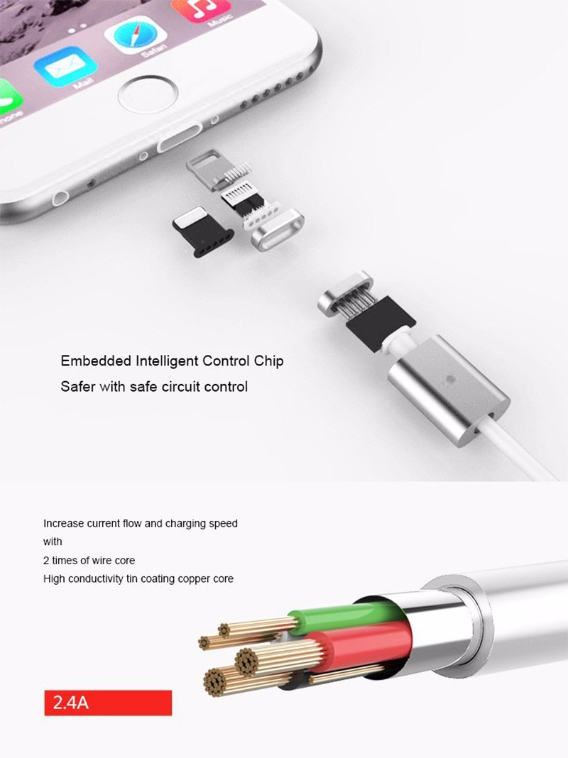 5041a689f82 Blanco Cable Magnético Usb Para Iphone 7 6 S 6 5c 5s 5 Ipad Cargador ...