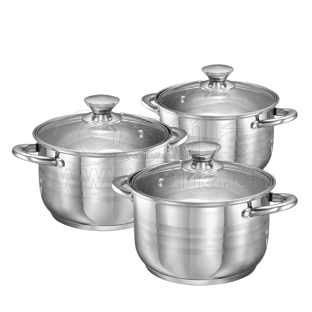 Cheap price stainless steel casserole set kitchen cookware set 6pcs with glass lid cooking pot set