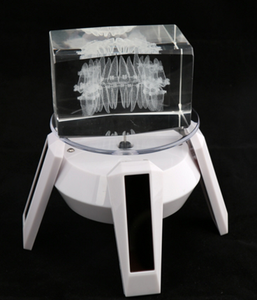 Crystal standard teeth model with rotatable solar panel stand gift
