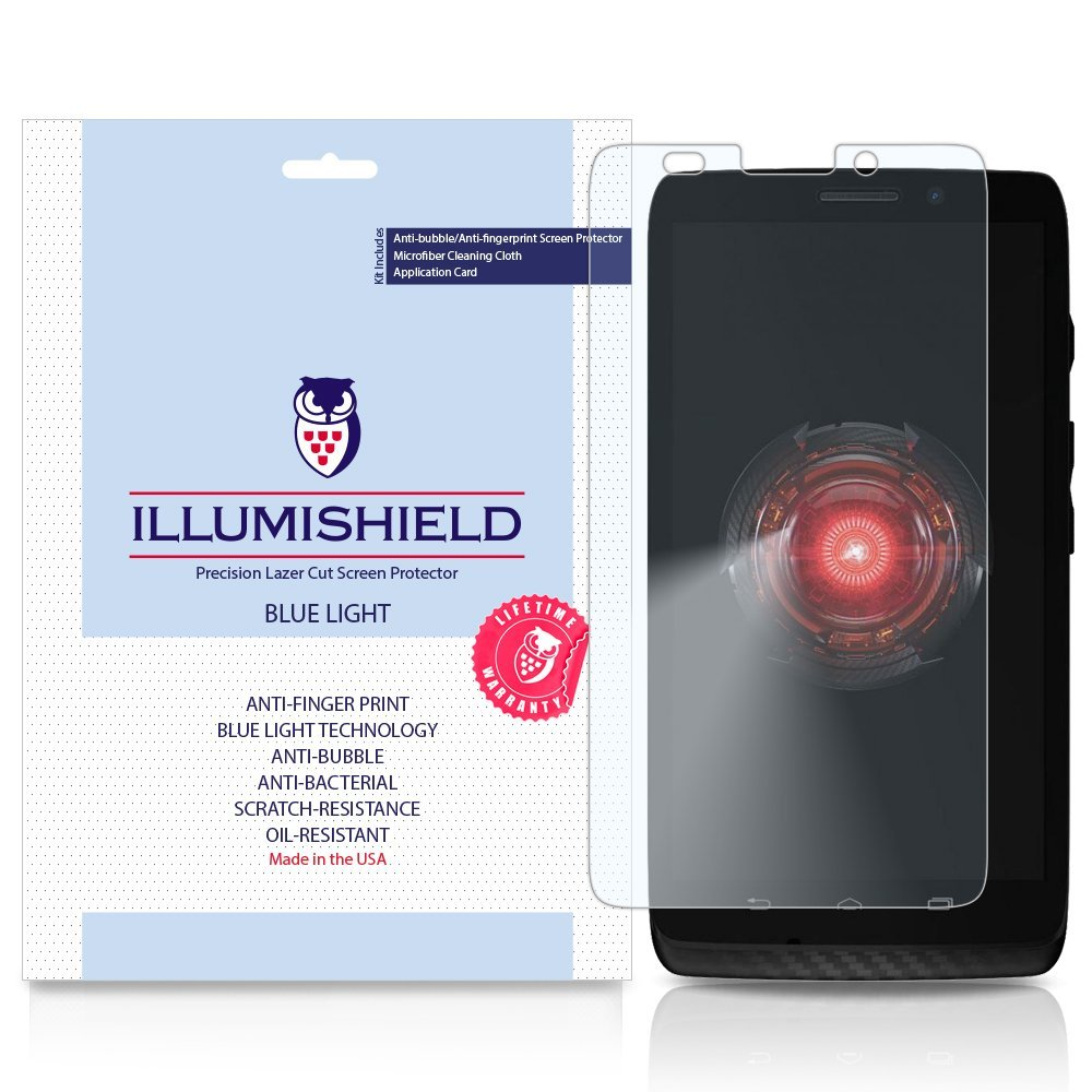 iLLumiShield – Motorola DROID MAXX (HD) Blue Light UV Filter Screen Protector Premium High Definition Clear Film / Reduces Eye Fatigue and Eye Strain – Anti- Fingerprint / Anti-Bubble / Anti-Bacterial Shield - Comes With Free LifeTime Replacement Warranty – [2-Pack] Retail Packaging