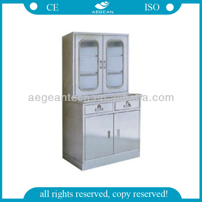 AG-SS039 Stainless Steel medical glass cabinet
