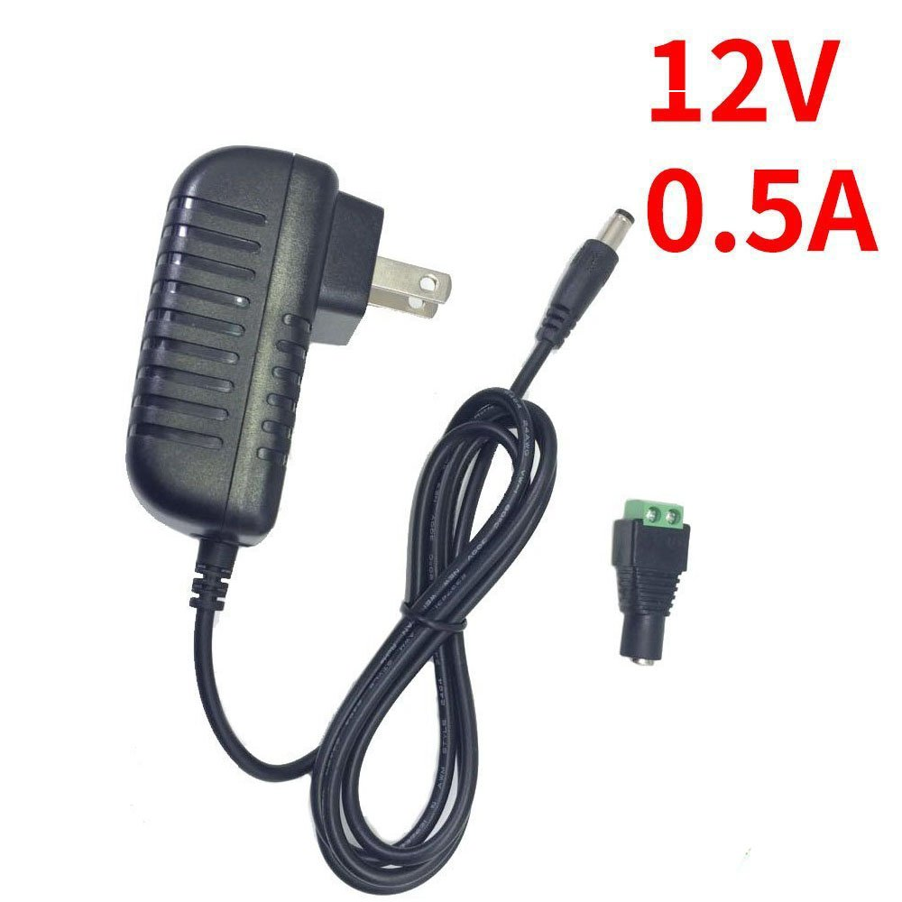 inShareplus DC 12 Volt Power Supply 0.5A(500mA) 6W, Wall Mounted AC/DC 12V Adapter, 100-240V AC to 12 Volt DC Transformer for LED Strip with 5.5/2.1 DC Female Connector to Screw Adapter