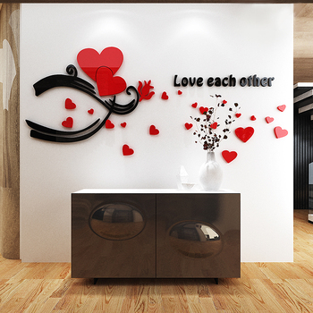 acrylic 3d mirror wall sticker decals love heart quote loving you