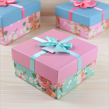 Hot sale new design cheap price Fashion gift box gift box square rose pattern gift box square pink blue box Report