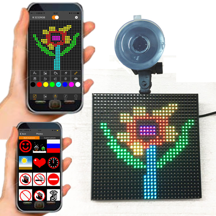 P4-32x32RGB Emoji Android iPhone Bluetooth DIY Drawing Smile Face Emotion Shop Taxi Suction Cup Car Charger <strong>LED</strong> <strong>Display</strong>