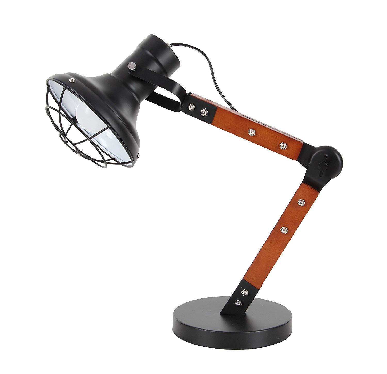 "Deco 79 50575 Iron and Wood Adjustable Mesh Task Lamp, 23"" x 16"", Brown/Black"