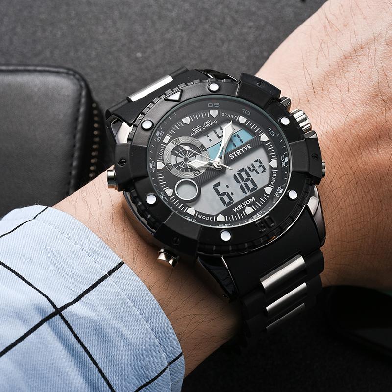 9ce2122351d Stryve Marca de Luxo Relógios Quartz Dual Time Led Relógio Exército Cabeça  grande 30 M de