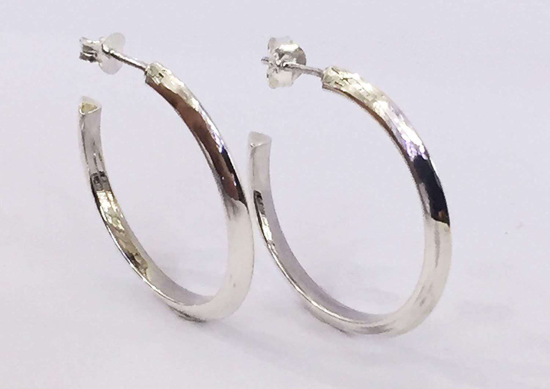 f18c12bc7 Get Quotations · 925 sterling silver hoop earrings, circle hoop silver  earring, beautiful handmade 3 cm diameter
