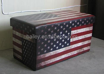 Printed American Flag Folding Cube Storage Ottoman