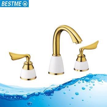 New Design Gold Br Basin Tap Single Lever Bathroom Tapixers
